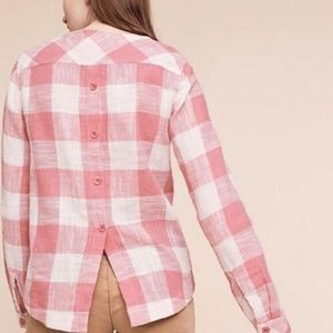 CLOTH & STONE Pink Gingham Button Back Top XS